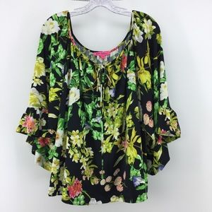 Betsey Johnson Floral Top L 3/4 Bell Sleeve Tropic